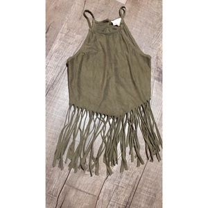 Soft suede crop top with fringe